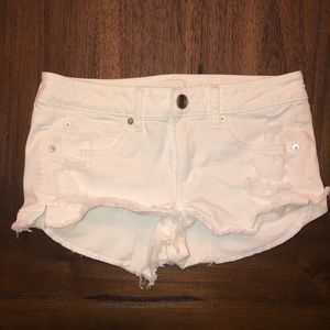 American Eagle Distressed White Jean Shorts
